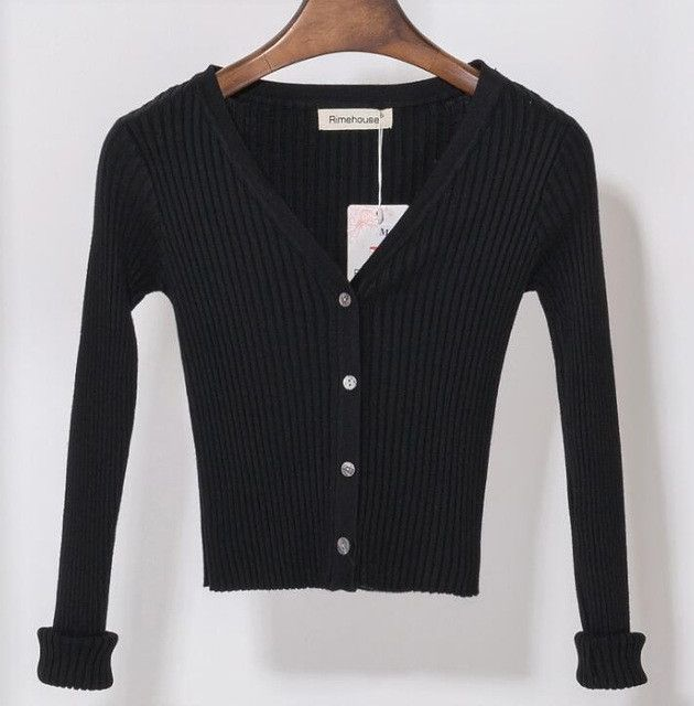 Buy Women Slim V Neck Knitted Cardigan Long Sleeve Cropped ...