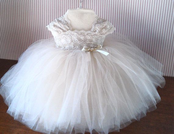 Infant Baby Toddler Lace Tulle Dress with Rose Hairclip, Flowergirl Special Occasion,  Pageant Dress80