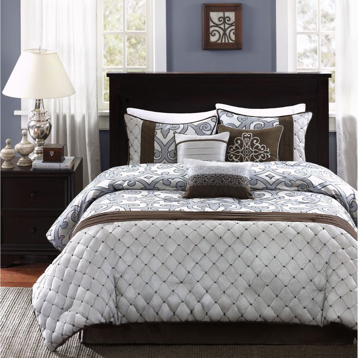 Add a sophisticated touch to any modern bedroom with the Madison Park Winchester 7-piece comforter set. Featuring a brown damask inspired print, the comforter is soft to touch and is machine washable for easy care. $96