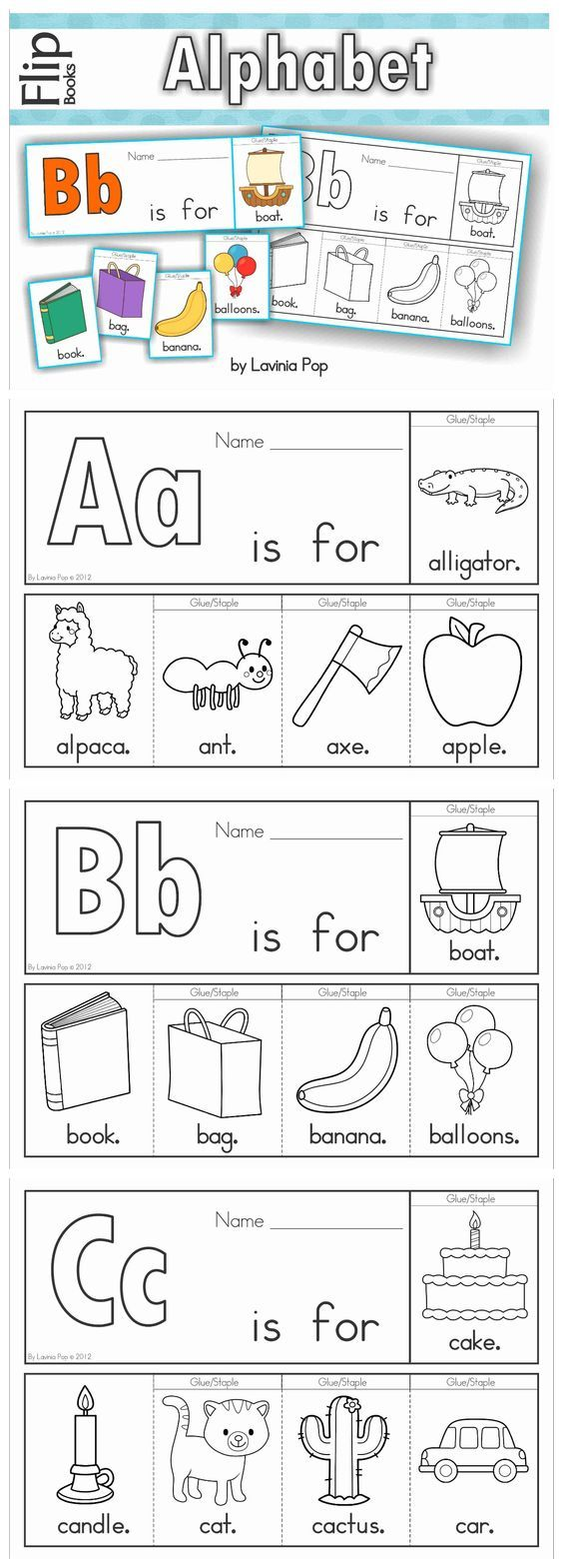 Alphabet Flip Books to introduce beginning sounds (color and black & white). Fantastic paper saving idea - a little booklet made from just one piece of paper!