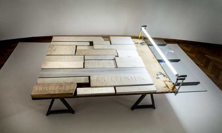 Radu Cioca - 1 square meter of thank you notes (2012 - 2014)  Marbel/ Lime stone/ wood/ Iron/ Glass/ Neon light 155 x 100 x 60 cm