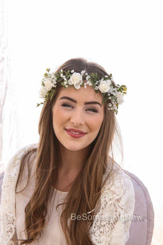Flower Crown Of Ivory Rose And Green Fern Babies Breath Boho Wedding Fl Halo Wreath Hair Wreaths Bridal Woodland