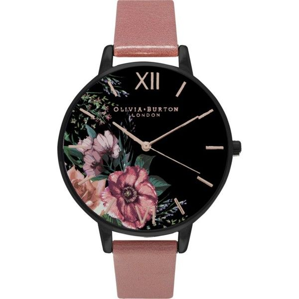 OLIVIA BURTON OB15FS60 leather watch (€89) ❤ liked on Polyvore featuring jewelry, watches, pink jewelry, leather jewelry, pink watches, floral watches and black dial watches