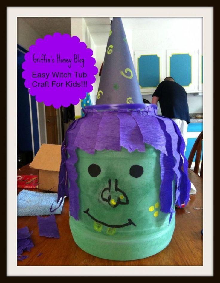 witch tub kids halloween craft so easy - Halloween Decorations Diy Kids