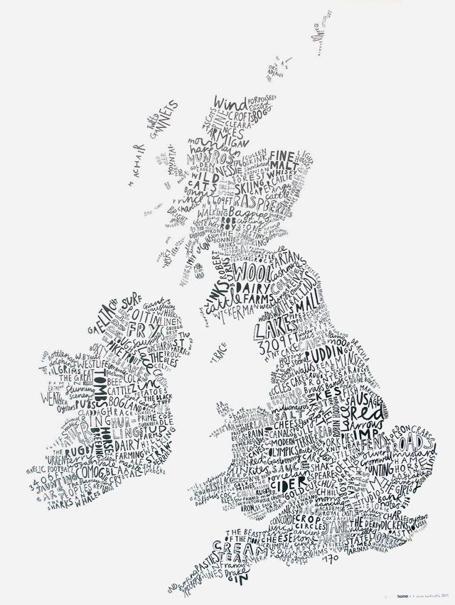 So this is rather lovely – a map of the British Isles created out of text that relates to its geographical location – so the Isle of Wight is illustrated with the word 1970, for the epic festival that occurred there in that year.    It's by Angus McArthur & Alison Hardcastle, and you can pick it up from Theo.