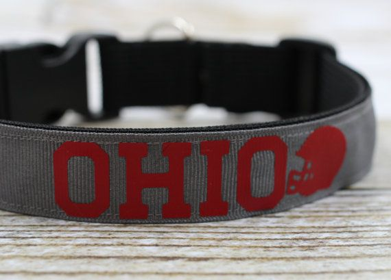 Dog Collar  OHIO Football  Interchangeable by droolySWAG on Etsy