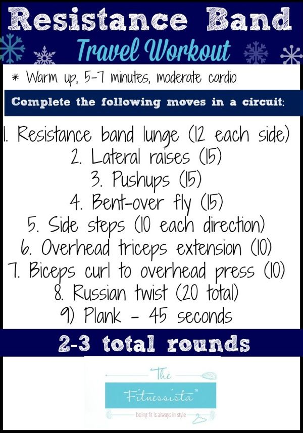 Resistance Band Travel Workout--resistance bands are the best for working out while traveling because they're so easy to pack!
