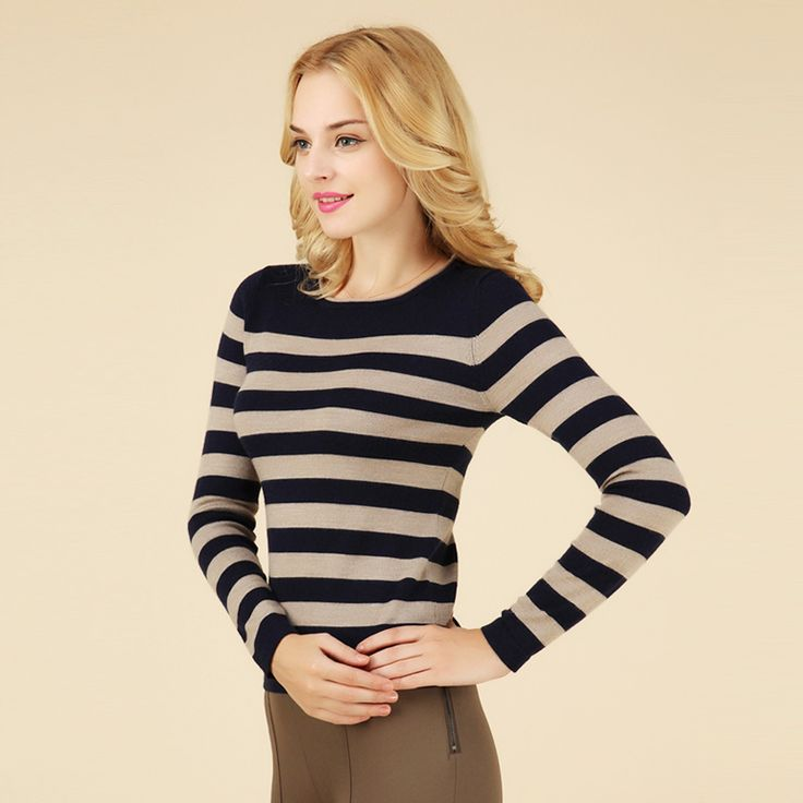Women-s-O-Neck-Wool-Striped-Sweaters-