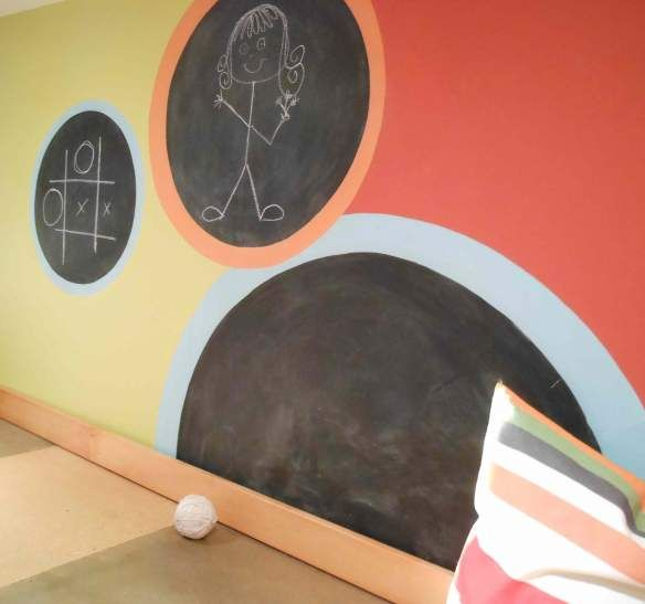 chalkboard polka dots- playroom or basement i love this compared to a big area or rectangle