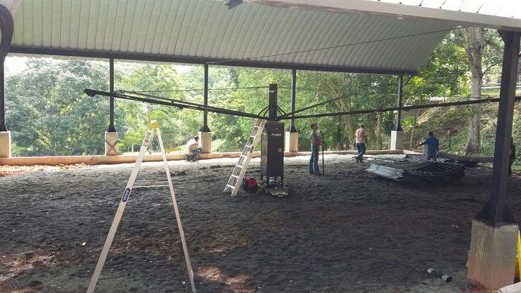 Priefert Horse Walker being set up in Panama