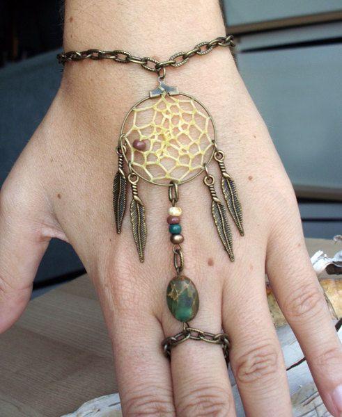Bohemian Dreamcatcher Slave Bracelet Boho Hippie Stone Tribal Gypsy Antiqued Brass Twilight Dream Catcher Native American Inspired. $24.99, via Etsy.