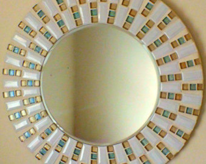 Bella cerámica hecha a mano mosaico espejo biselado Edge cristal blanco con oro y brillo de los azulejos azulejo de mosaico