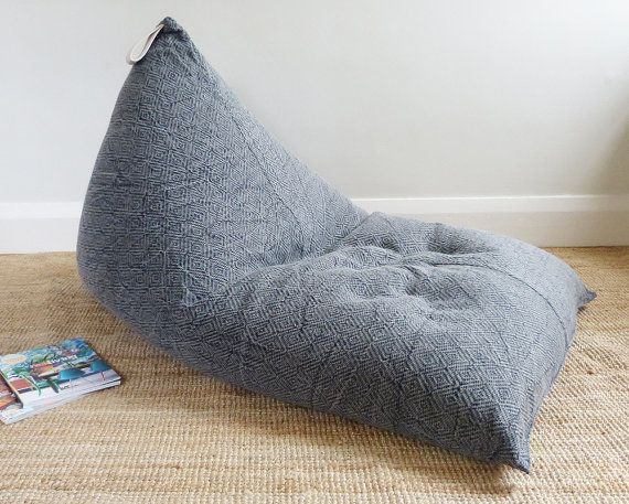 Bean bag back rest chair charcoal seat by Sevenseashome on Etsy