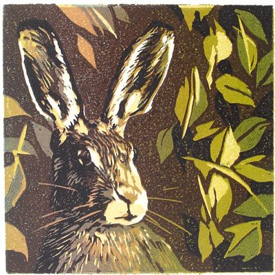 Hare linocut Michael Gage .. 6 colours here!