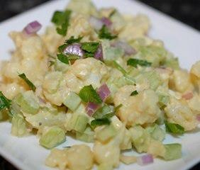 Not Potato Salad (great for all phases)  Ingredients: 1 head cauliflower, chopped into small florets 2 stalks celery, diced 1/4 yellow onion, finely diced 1 Tbs fresh parsley, finely chopped 2 eggs, hard boiled, shelled, and diced 2 Tbs Walden Farms mayonnaise 1 Tbs dijon mustard ½ tsp sea salt (optional)
