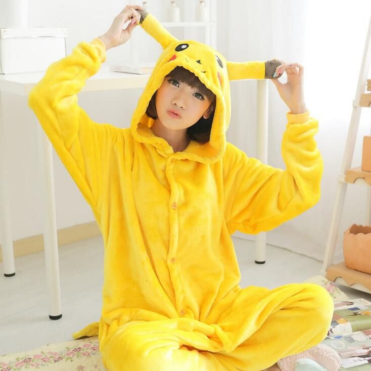 Pokemon Pikachu Cosplay Animal Hoodie Sleepwear Pajamas Adult Yellow Unisex Pikachu Onesie Cosplay Costume Pikachu Pajamas
