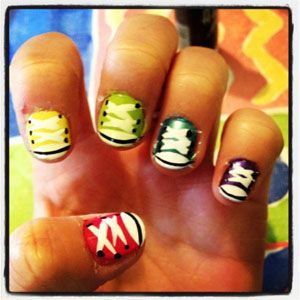 Seventeen Reader Tiffany's Converse Nails! See more fun ideas here: http://www.seventeen.com/beauty/celebrity/crazy-nails