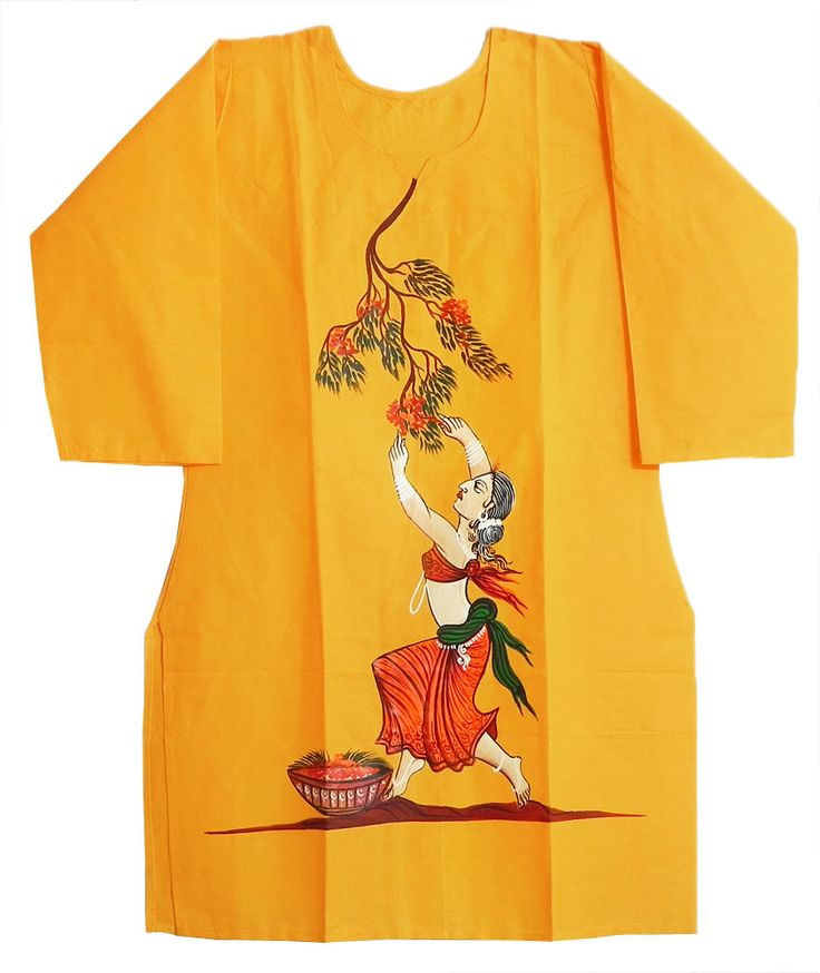 Hand Painted Yellow Kurta with Three Quarter Sleeves (Cotton)