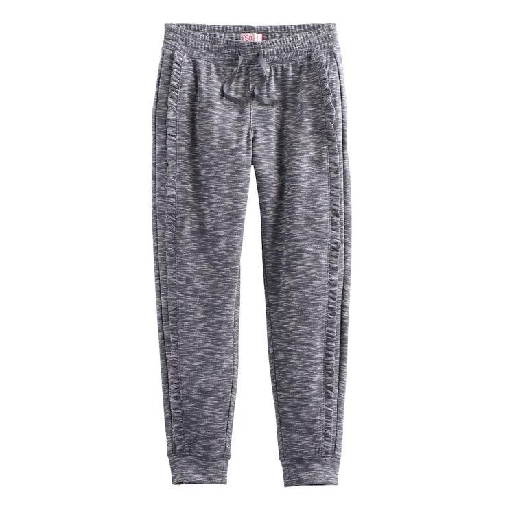 Girls 7-16 & Plus Size SO® Ruffled Jogger Pants, Size: 12, Dark Grey