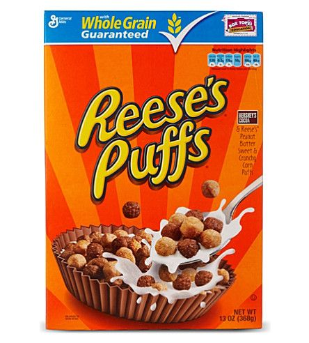 Reese's Puffs are a great cereal from America.  Of course Reese's Puffs are chocolate and peanut butter flavoured crunchy corn puffs.  This box is a standard 368g sized pack of cereal.  Imported from America.