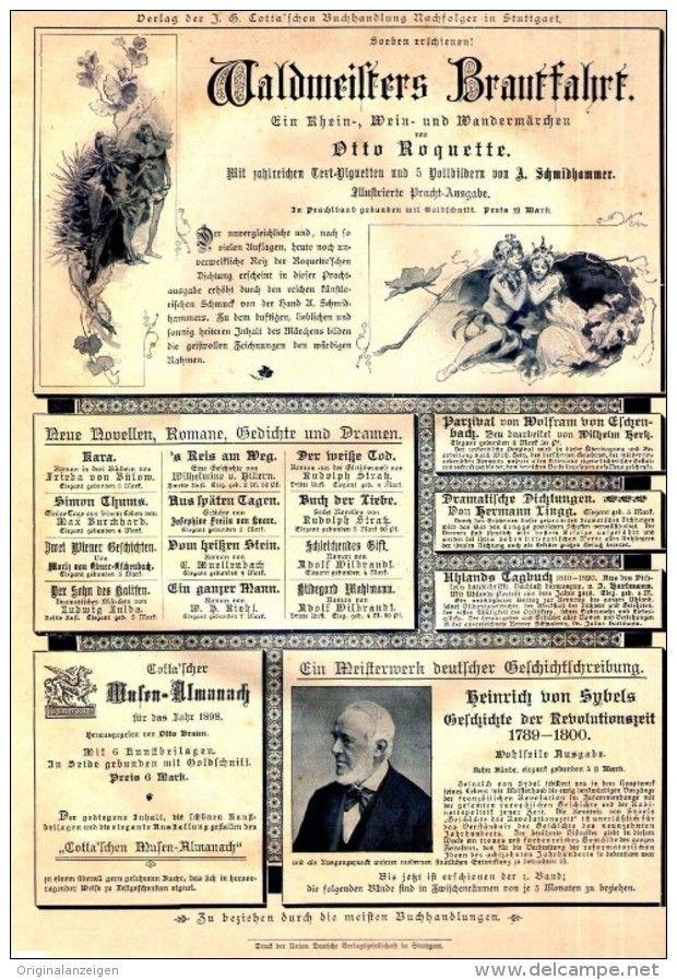 Original-Werbung/ Anzeige 1897 - 1/1 SEITE : COTTA'SCHE BUCHHANDLUNG STUTTGART - ca. 180 x 280 mm
