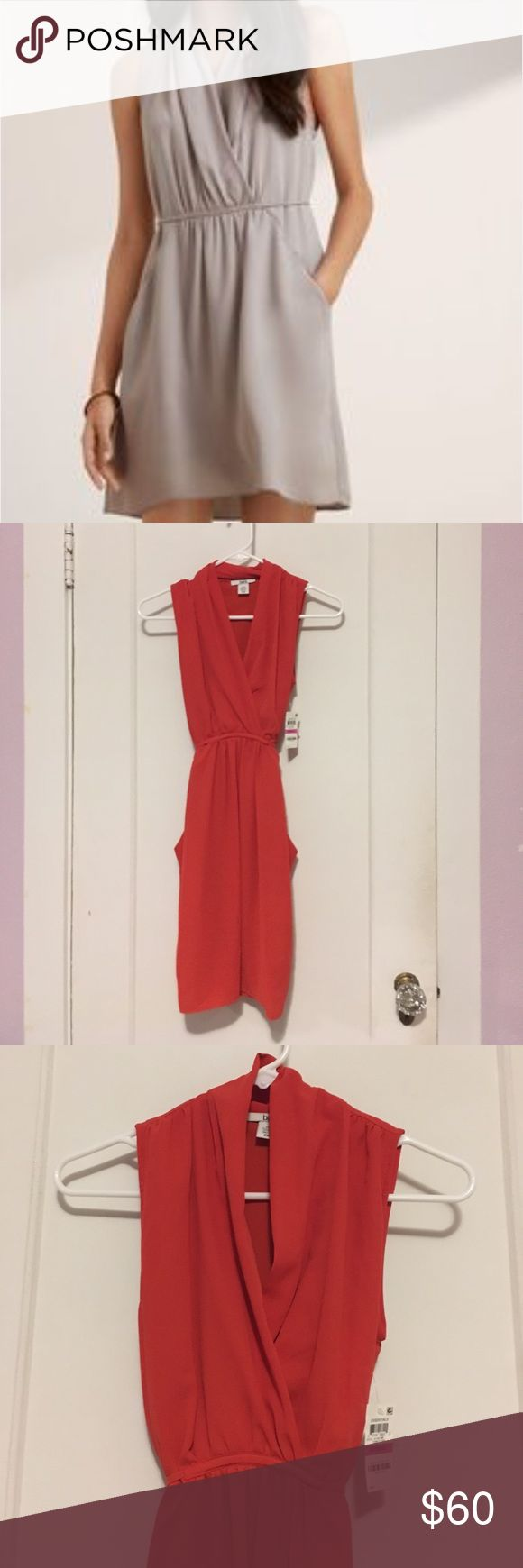 Surplice dress in tomatoe red 🍅 Tagged as aritzia and is exactly like the Sabine dress. This one is 100% polyester and brand is Bar lll. Brand new. Size XXS but fits XS. Last 2 photos are to show color and style on stock photos. Aritzia Dresses