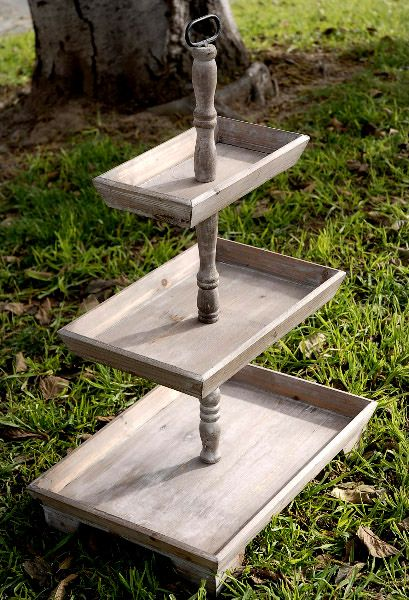 3 Tier Rustic Wood Stand Set Of 2 35in Trays Chang E 3