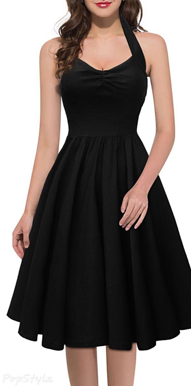 Retro Style Cut Out Sleeveless Black Halter Dress