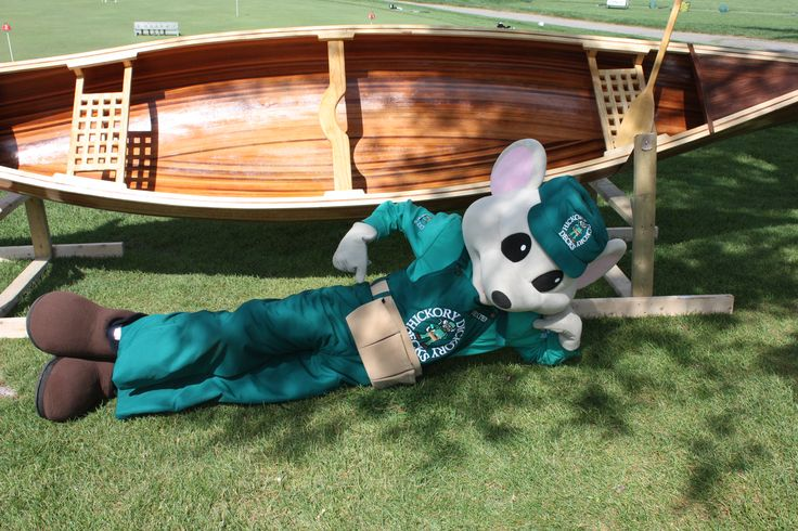 Dexter with our hand made cedar strip canoe. Great job BJ and Justin.