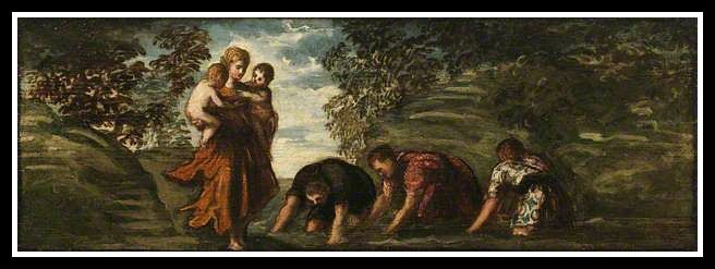 """Latona Changing the Lycian Peasants into Frogs"" by Jacopo Tintoretto. (16th century)."