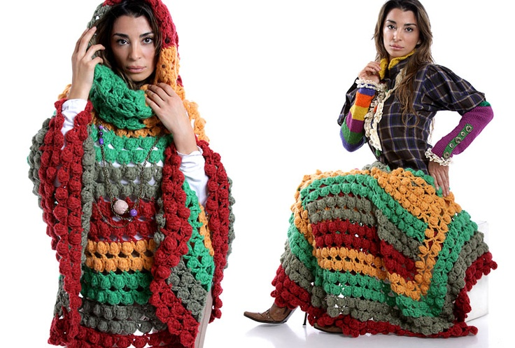 Poncho multicolor by Espiritu Folk