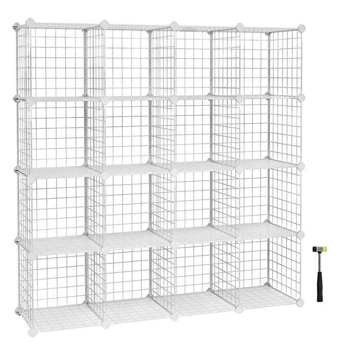 Songmics Metal Wire Storage Cube Organizer Modular Shoe Rack Diy Closet Cabinet And Shelving Grids Bookcase Incl Modular Shelving Cube Storage Wire Storage