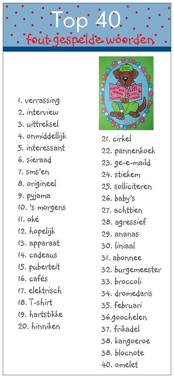 Top 40 - meest fout gespelde woorden