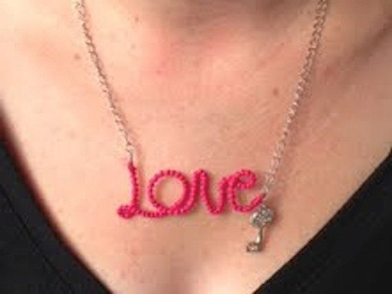 """Handmade embroidery thread wrapped wire """"Love"""" necklace with key charm on Etsy, $10.00 CAD"""