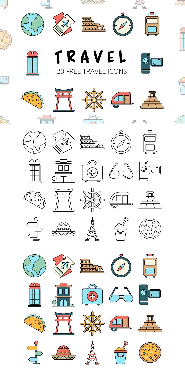 Before you Travel Vector Free Icon Set