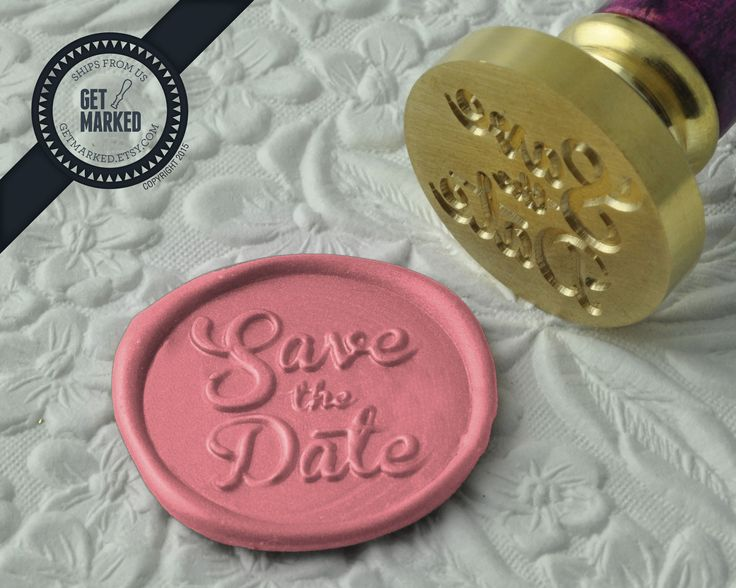 Save the Date - Wax Seal Stamp by Get Marked - Wedding Collection (WS0183).  The stamp is ideal for wedding, engagement party and bridal shower invitations. #GetMarked, #waxsealstamp, #waxseal, #wax, #wedding, #invitation