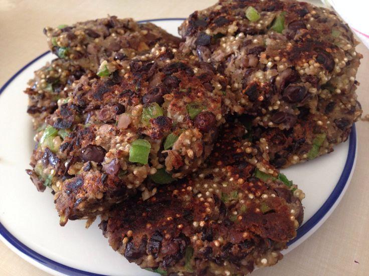 Homemade Vegetarian Quinoa Black Bean Burgers. Delicious!