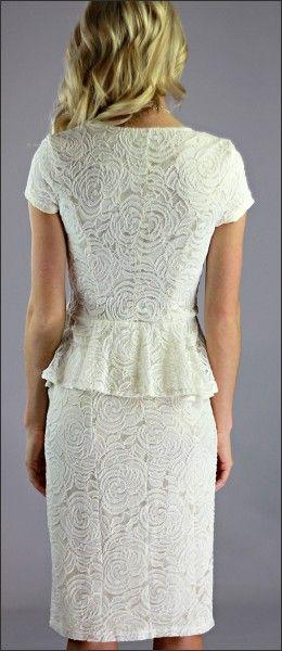Sabrina Cream Peplum Dress Cream Peplum Dress Modest