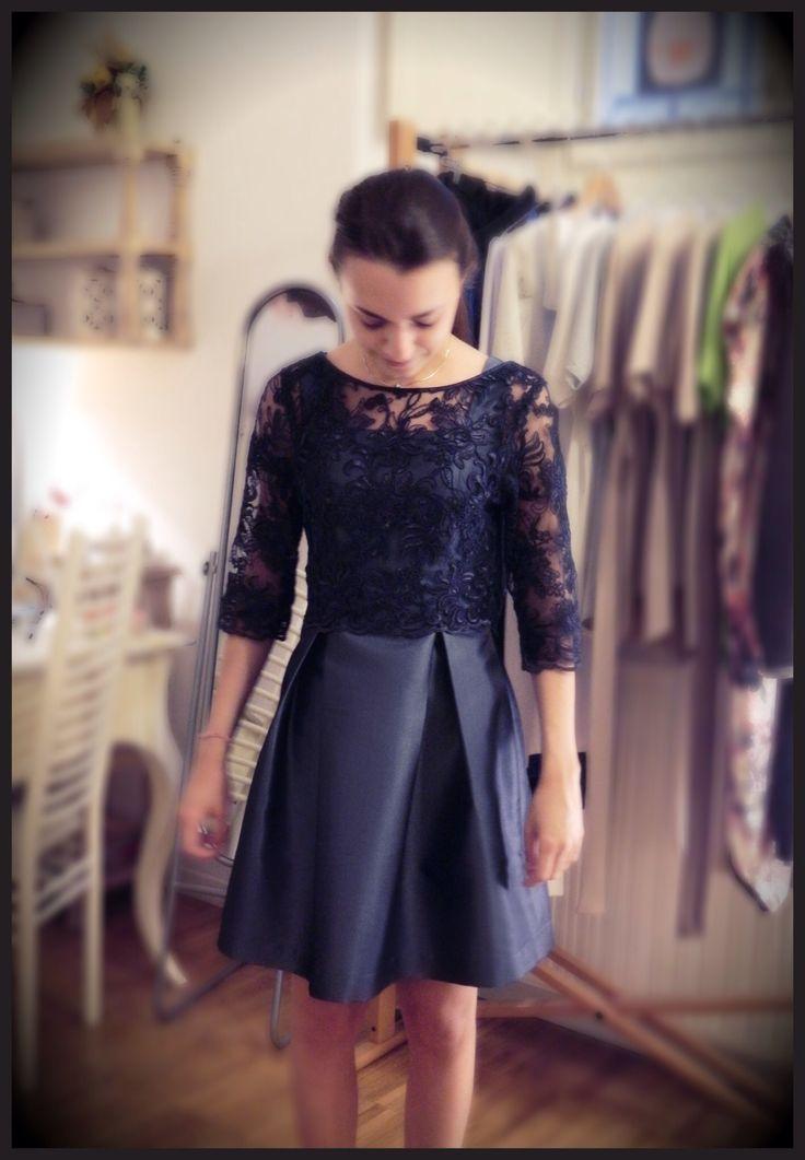 """ G R A C E F U L "" ❤️ Carolina.  Taffetà avio dress with maxi-pleated. Little rebrodè blue lace top with taffetá bow at back side."