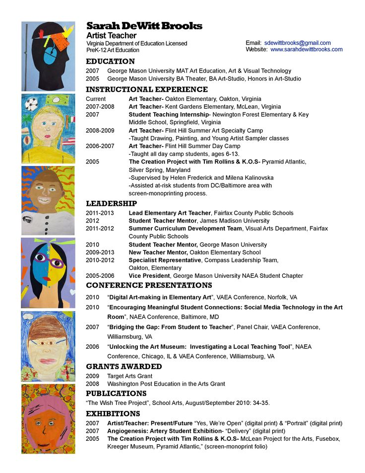Best Art Teacher Resume Portfolio Images On   Art