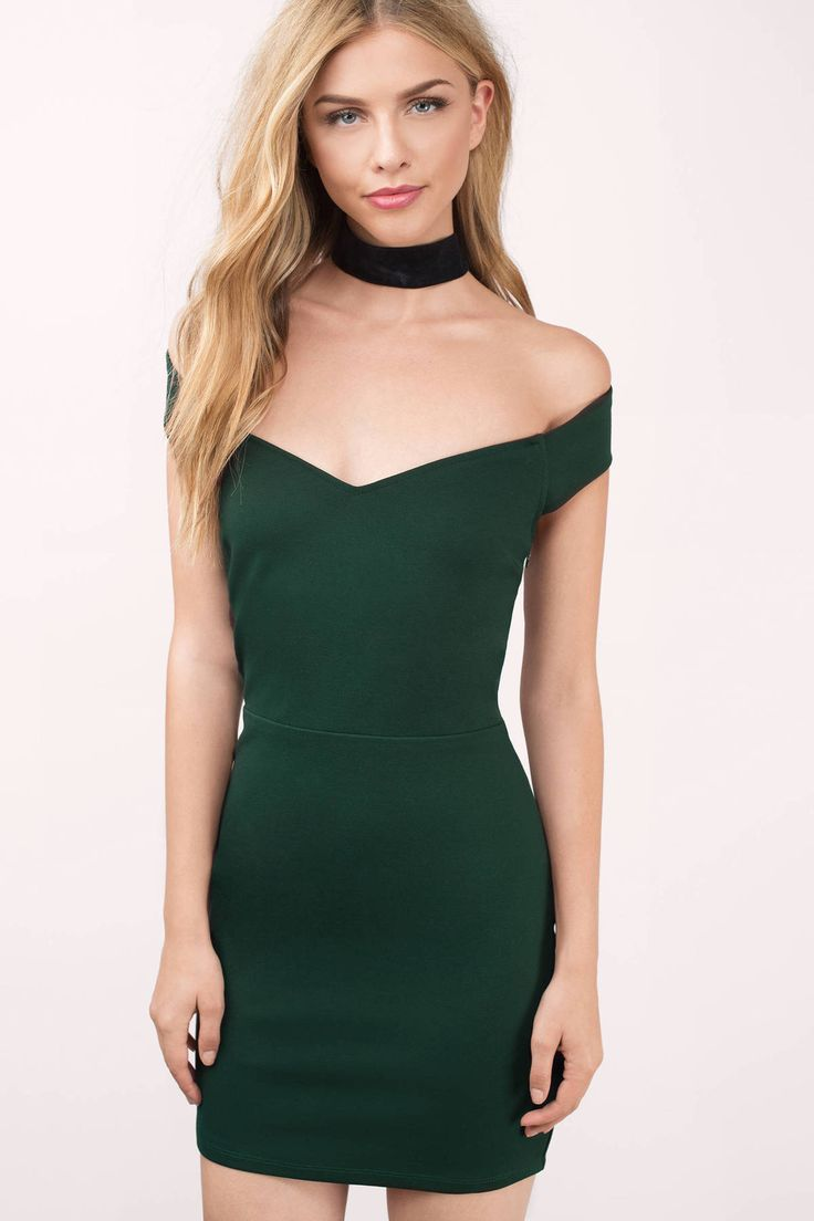 Get festive this holiday season with this green off shoulder bodycon dress.