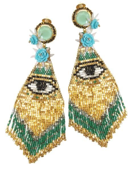 These earrings are the absolute darlings of the editorials! Made from beaded pendants found in a flea market and adorned with vintage tiny flowers. The upper p