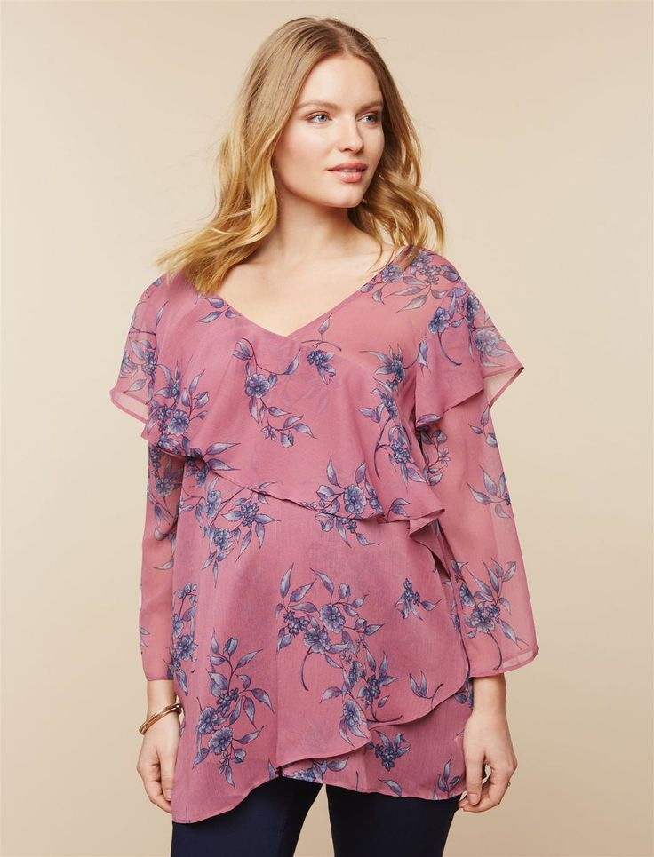 Hanky Hem Maternity Tunic, Purple Floral