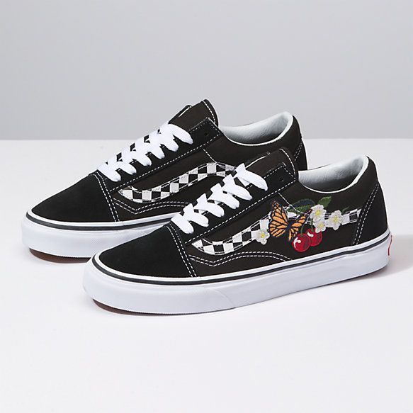 Checker Floral Old Skool Vans Shoes Old Skool Vans Shoes Cute Shoes