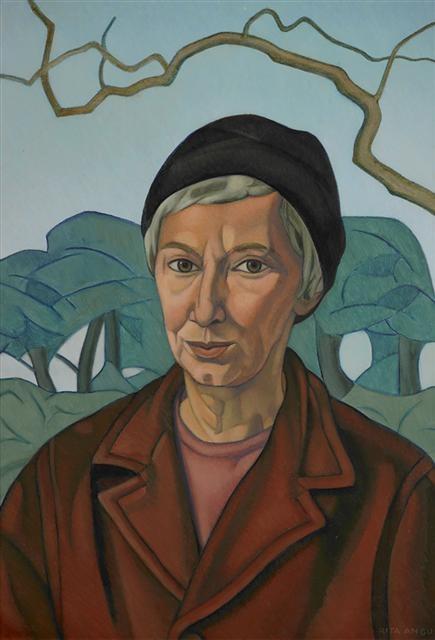 Self-portrait (1967-68) by Rita Angus (1908-1970). Oil on hardboard, 577 x 405 mm.