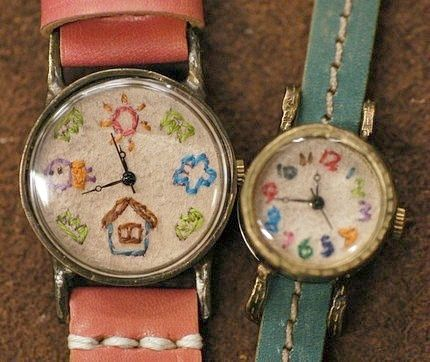 Ooh love.. Embroidered watch faces... wish I knew who to credit ~ #embroidery #sewing