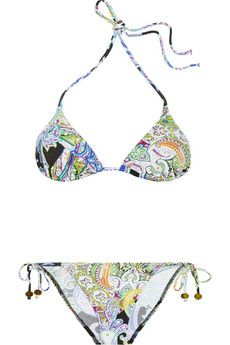 Paisley-print triangle bikini by: Etro! Goes perfect with our pale barefoot Slinks!