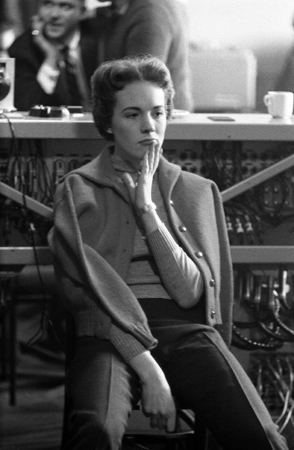 Julie Andrews listens to a playback, during the recording sessions of the stereo version of the My Fair Lady cast album. London 1959.