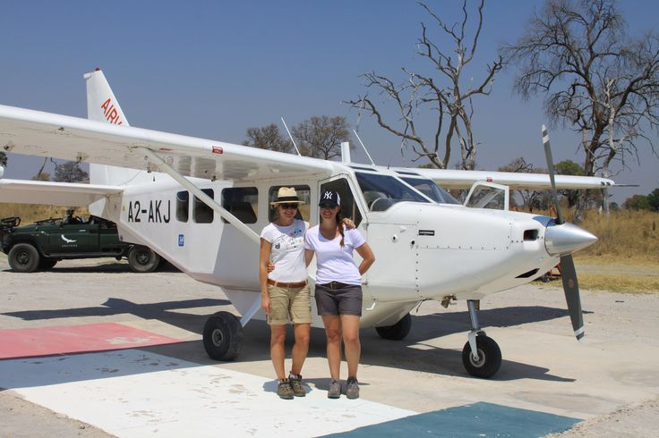 Angela and Laura on their charter flight from Nxabega to Moremi in Botswana. #Africa #Travel #camping #plane