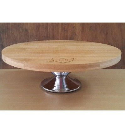 personalised cake stand with chrome plated foot